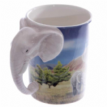 Elephant Shaped Handle Mug with Savannah Decal